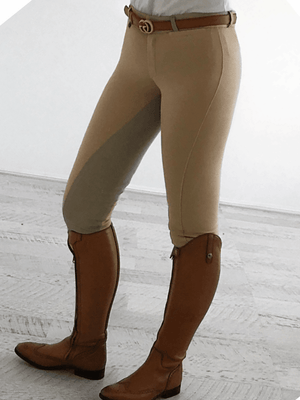 Ladies wearing Slicker Sticker Jodhpurs in Beige Color