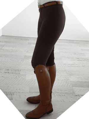 Ladies wearing Slicker Sticker Jodhpurs in Choclate Color