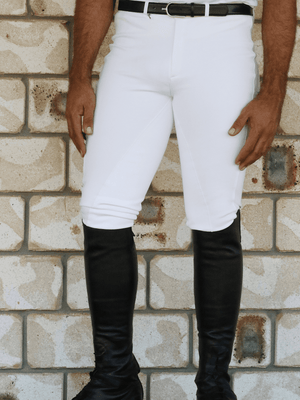 Men wearing Slicker Sticker Jodhpurs in White