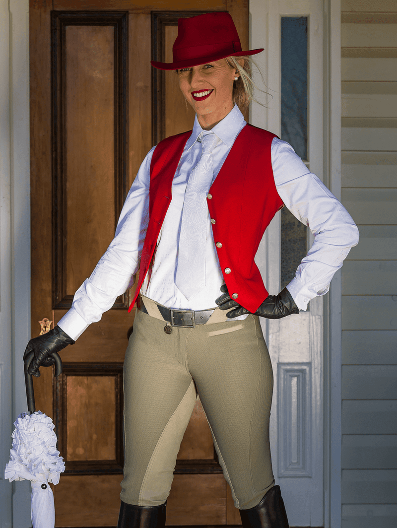 Ladies wearing Taupe Show Full Seat Jodhpurs