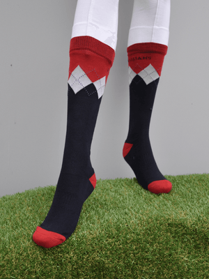 Peter Williams Socks in Navy Red