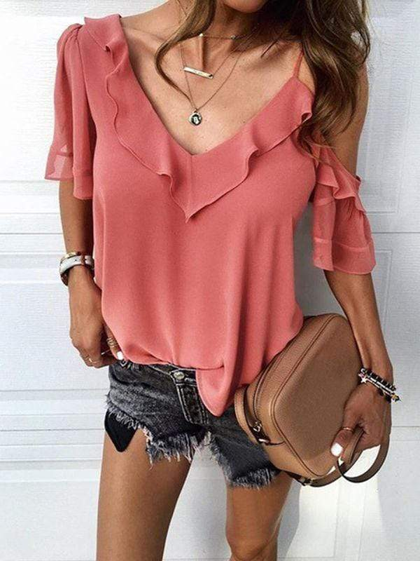 V-neck Cold Shoulder Ruffle Blouses