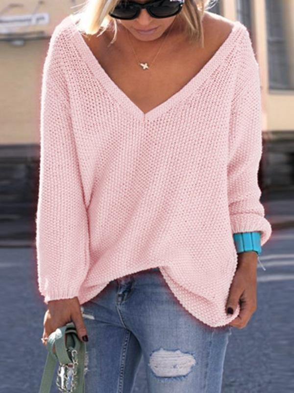 V-neck Solid Loose Sweater-Hoodies & Sweatshirts-lolitus.com