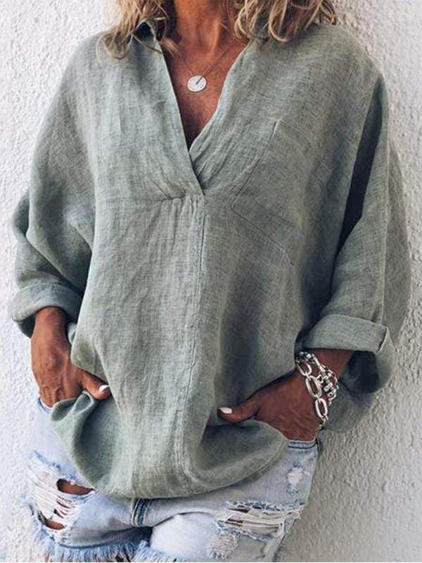 V-neck Long-sleeved Shirt Pullover Ladies Shirt