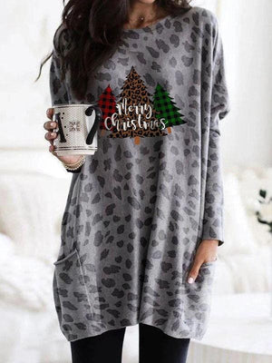 Leopard Printed Merry Christmas Loose Top
