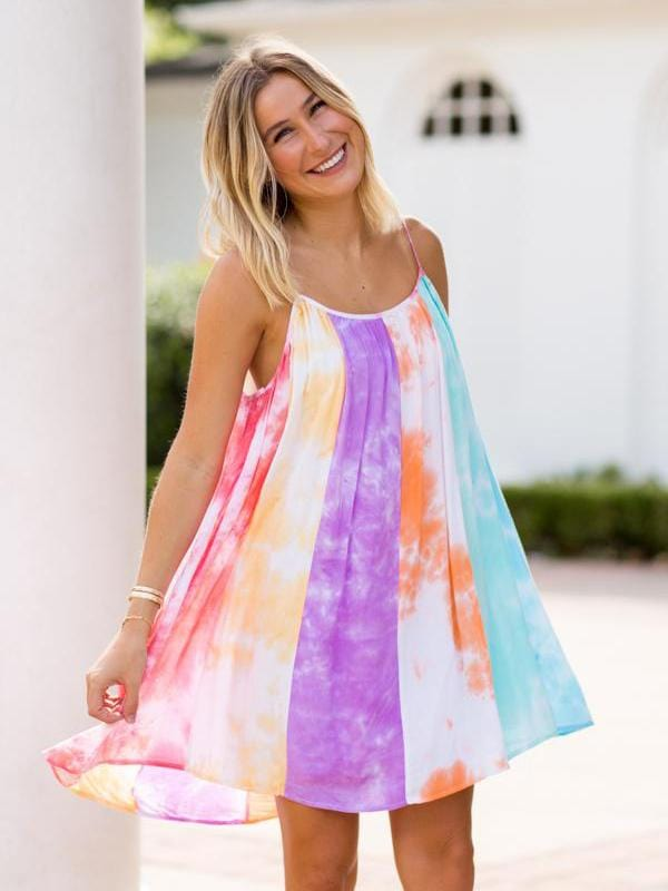 Spaghetti Strap Tie Dye Dress
