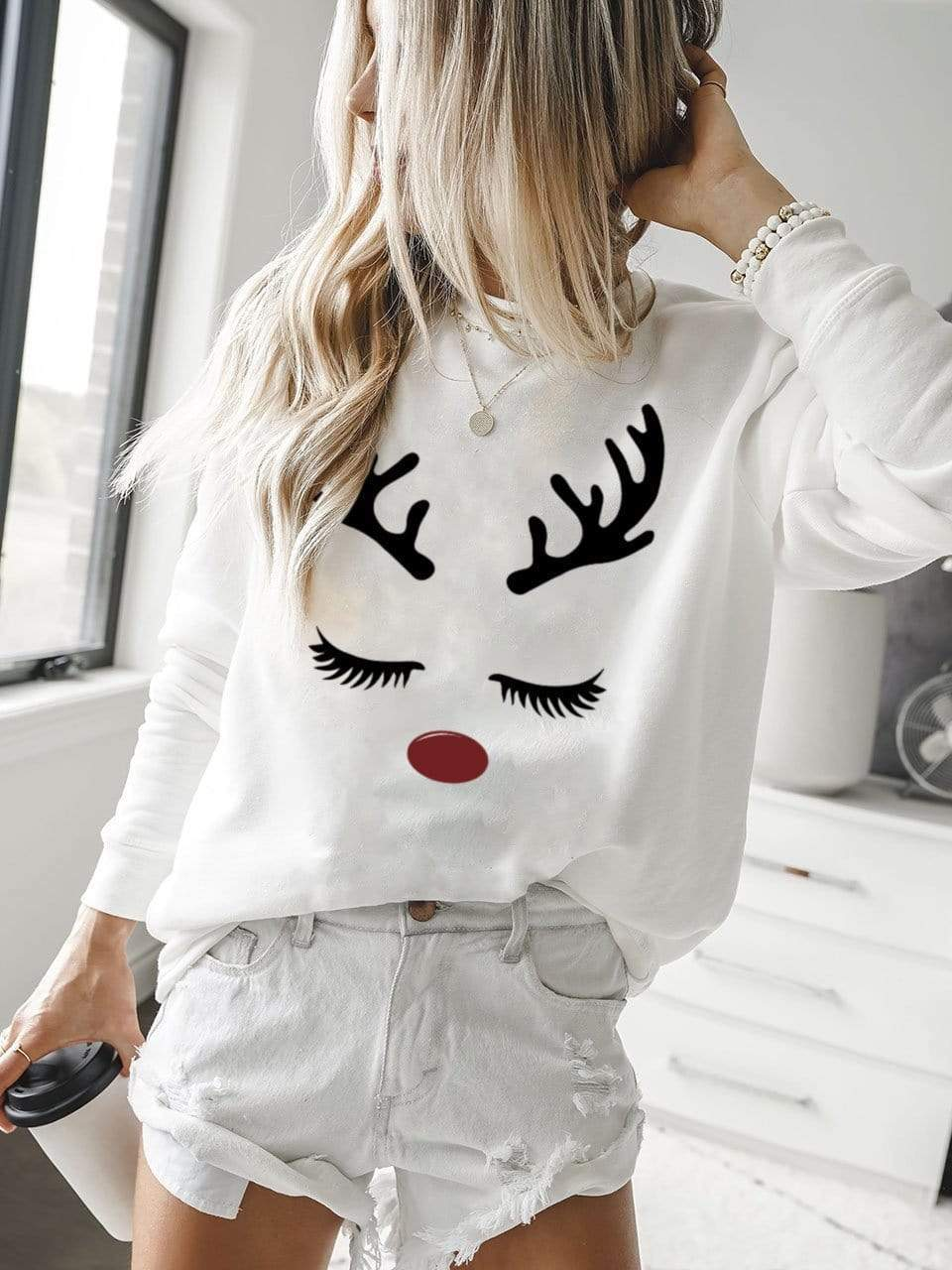 Christmas Deer White Pullover