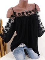 Lace Splice Off The Shoulder T-shirts