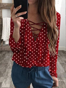 Dot Print Ruffle Long Sleeve Blouse
