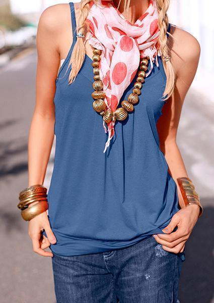Solid V-neck Halter Sexy Tanks