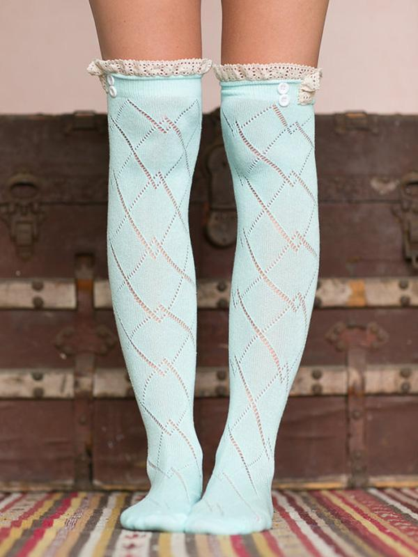 Lace Stitching Thigh-High Knitted Socks