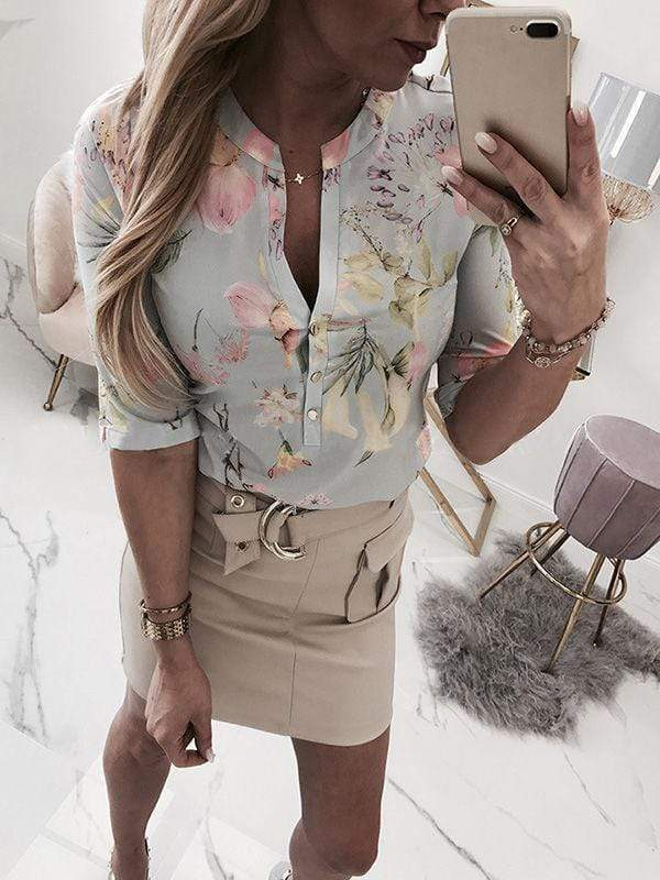 V-Neck Floral Printed Button Blouses