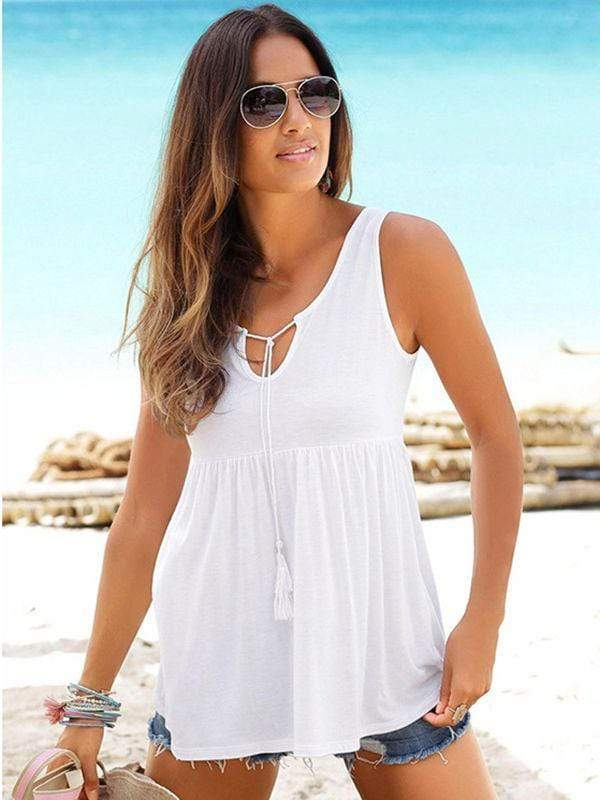 Cold Shoulder Tassel Waist Tanks