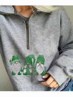 Women's Scandinavian Christmas Gnomes Zip Hoodie