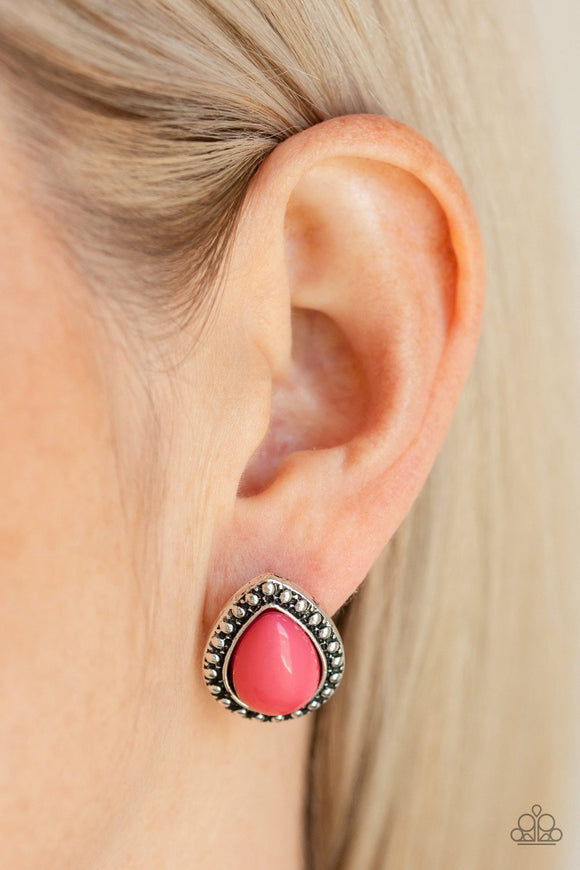 Boldly Beaded - Pink post earrings