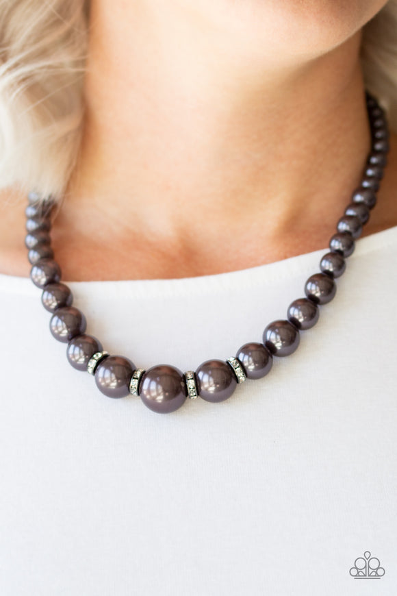Party Pearls - Gunmetal necklace