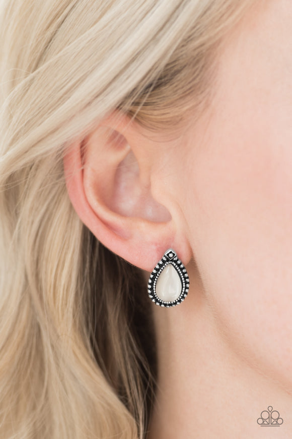 Wouldn't GLEAM Of It - White post earrings