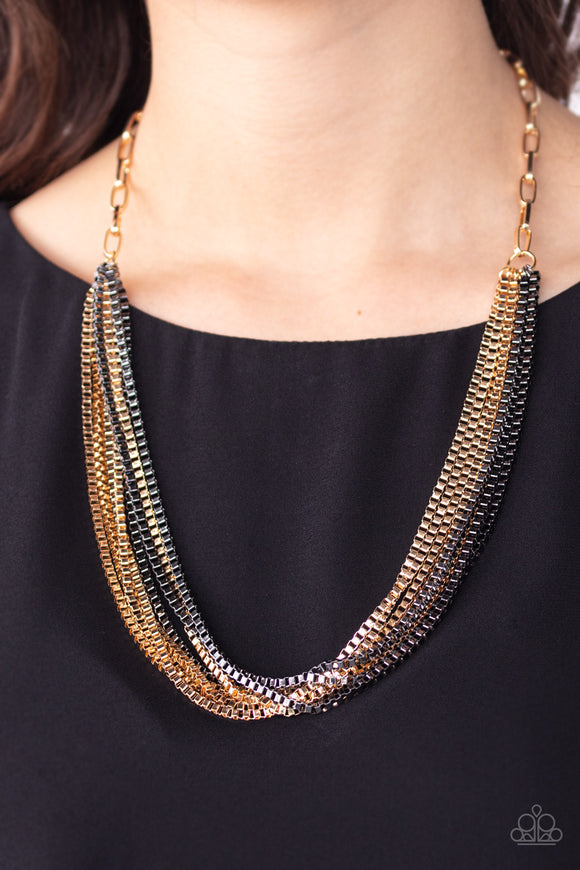 Beat Box Queen - Gold multi necklace