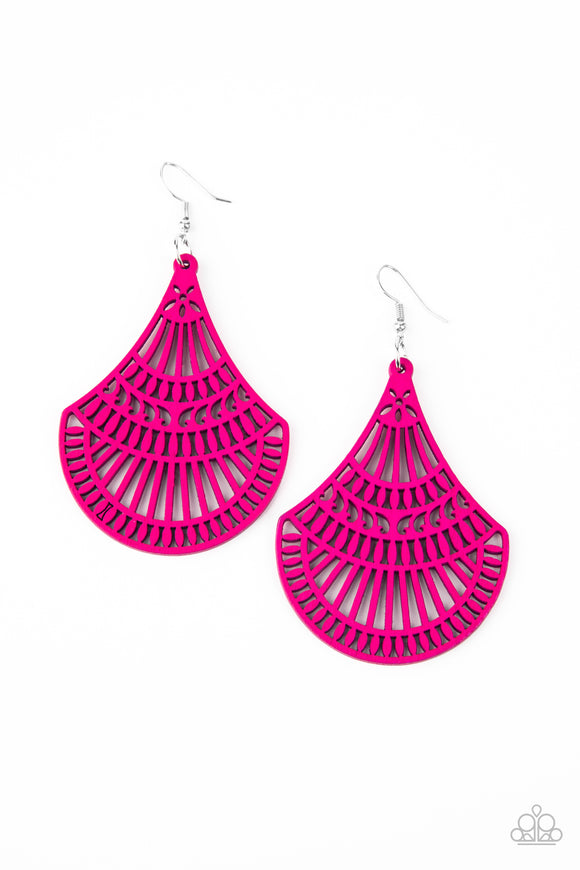 Tropical Tempest - Pink wood earrings