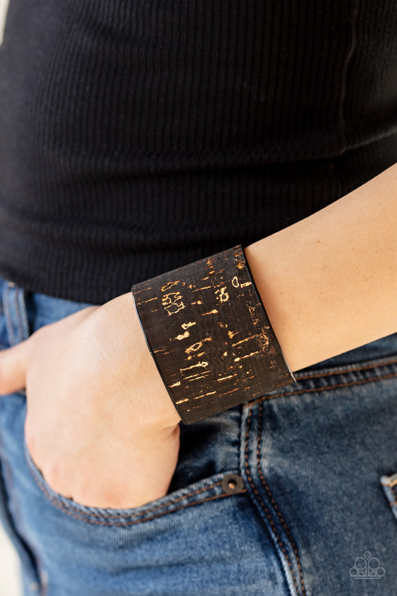 Up To Scratch - Black cork cuff bracelet