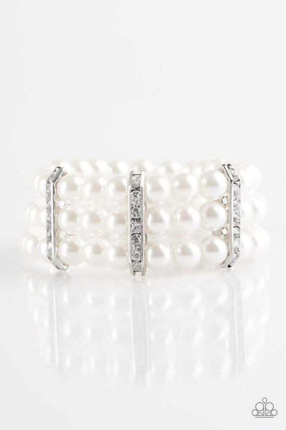 Put On Your GLAM Face - White Bracelet