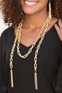 "Paparazzi Necklace & Earring Set - ""SCARFed for Attention - Gold"""