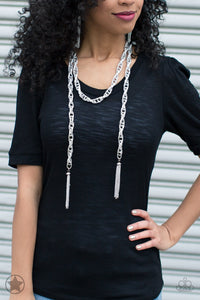 "Paparazzi Necklace & Earring Set - ""SCARFed for Attention - Silver"""