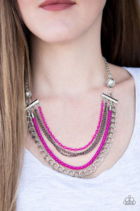 "Paparazzi Necklace & Earring Set ""High-Intensity - Pink"""