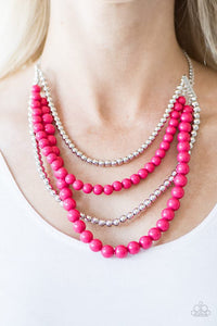 "Paparazzi Necklace & Earring Set, ""A FOUR-ce To Be Reckoned With - Pink"""