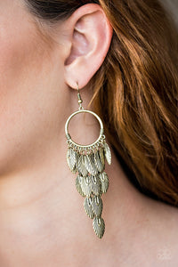 Feather Frenzy - Brass earrings