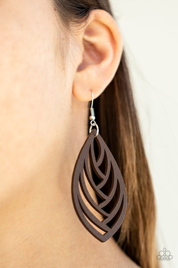 Out of the Woodwork - Brown wood earrings