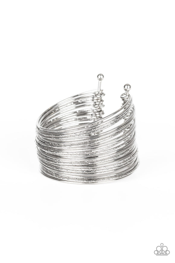 Stacked To The Max - Silver cuff bracelet