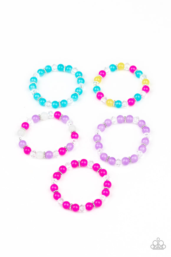 STARLET SHIMMER GLASSY, CRYSTAL-LIKE BEADED BRACELETS FOR LITTLE GIRLS (5-PACK) $500