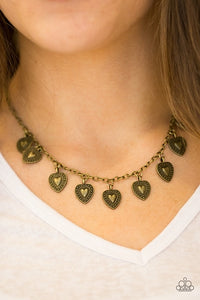 "Paparazzi Necklace/Earring Set ""Lost In The Moment - Brass"""