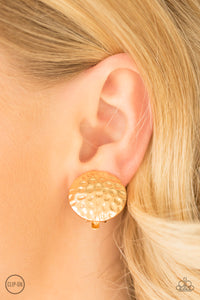 "Paparazzi Earrings - ""Hold The SHINE - Gold Clip-On"""