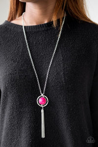 "Paparazzi Necklace & Earring Set ""Always Front and Center - Pink"""