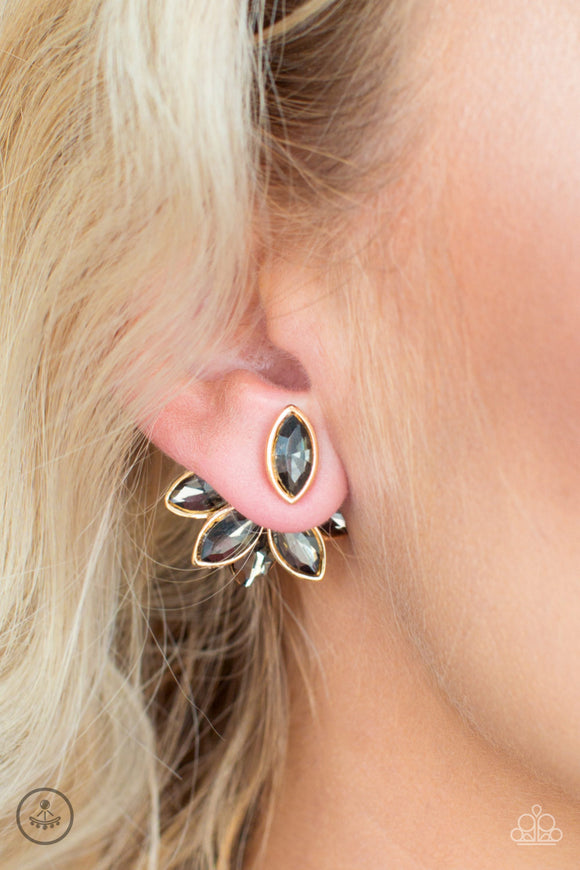 Fanciest Of Them All - Gold double-sided post earrings
