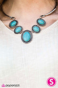"Paparazzi Necklace & Earring Set -""River Ride - Blue"""