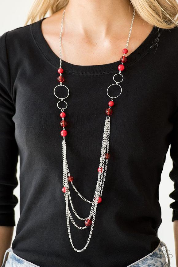 Bubbly Bright - Red Necklace