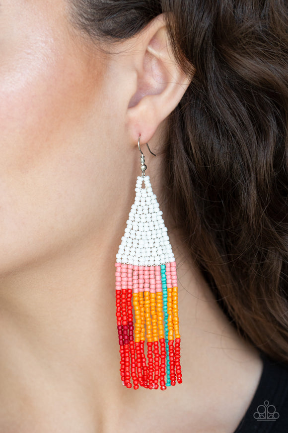 Beaded Boho - White earrings
