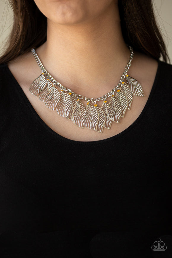Feathery Foliage - Yellow necklace set