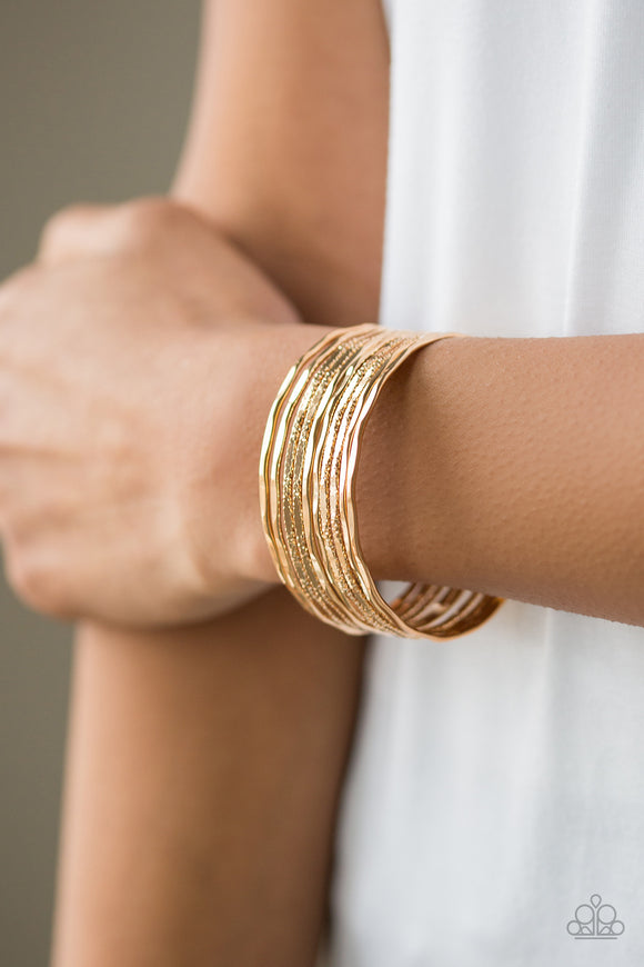 Sleek Shimmer - Gold cuff bracelet