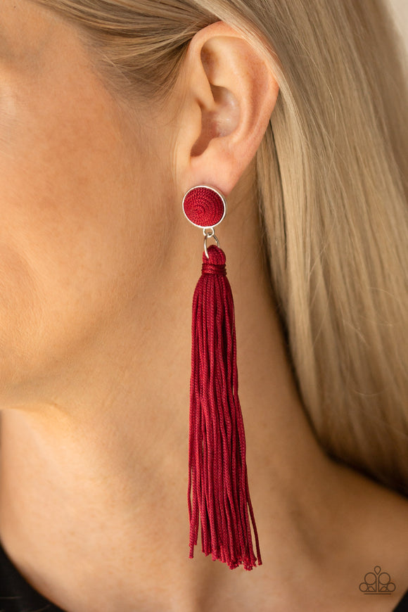 Tightrope Tassel - Red earrings