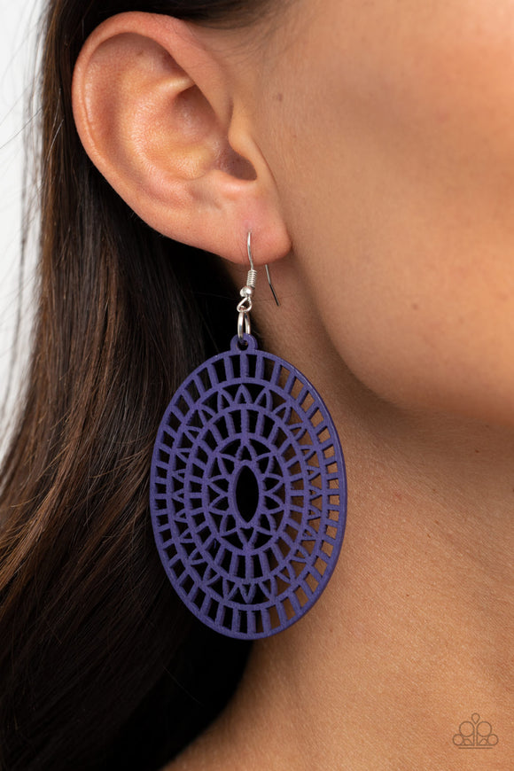 Tropical Retreat - Purple wood earrings