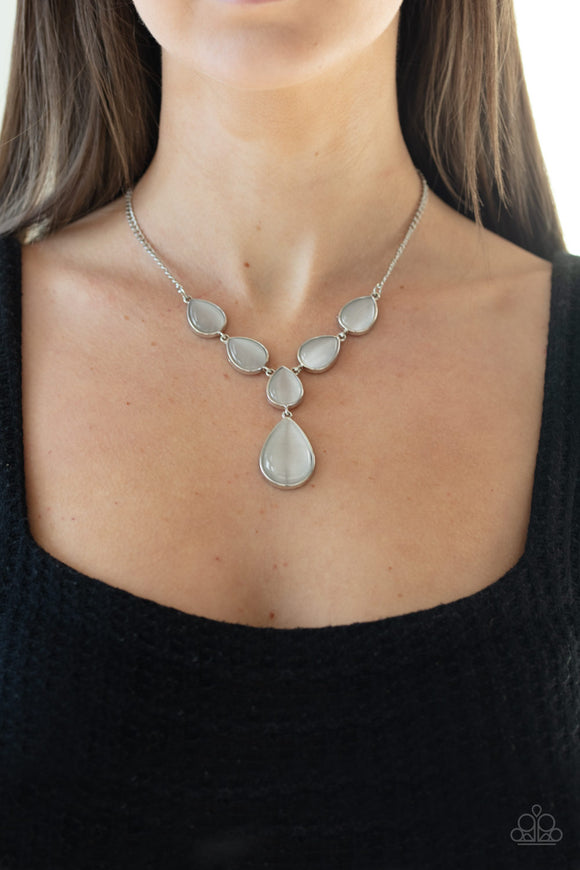 Dewy Decadence - White moonstone necklace