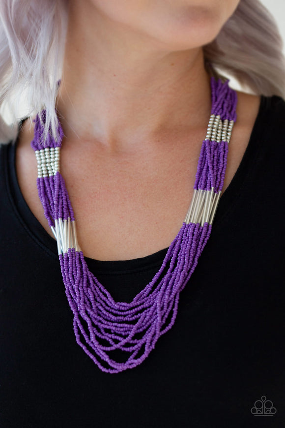 Let It BEAD - Purple seed bead necklace