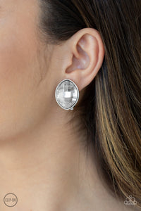 Movie Star Sparkle - White clip on earrings