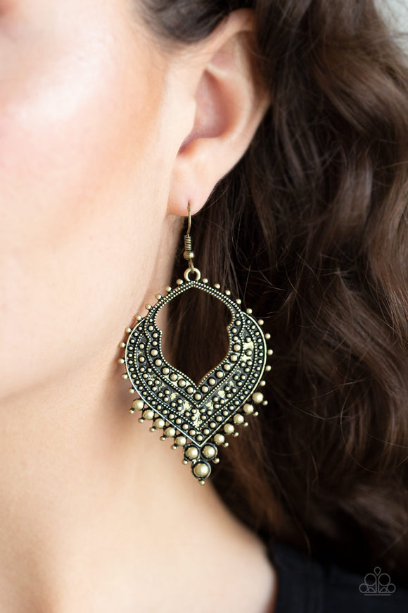 Sweep It Under The RUGGED - Brass earrings