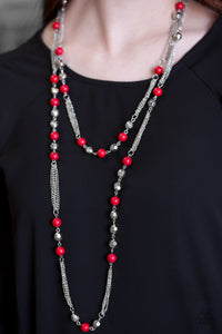 "Paparazzi Necklace/Earring Set - ""Beautifully Bodacious - Red"""