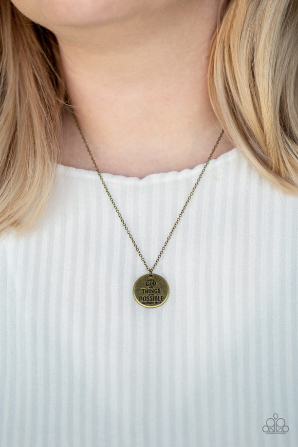 All Things Are Possible - Brass necklace